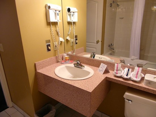 Days Inn Canmore: Bathroom with hairdryer and shampoos.