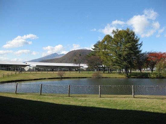 Karuizawa prince shopping plaza: 池から浅間山望む