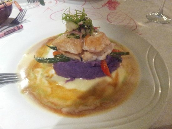 Jackie Rey's Ohana Grill: Ono with lime-ginger and wasabi sauce, and Molokai sweet potatoes