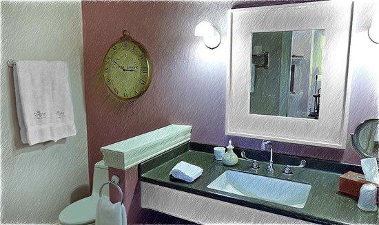 Lodgings at Pioneer Lane: Bathroom sink area.
