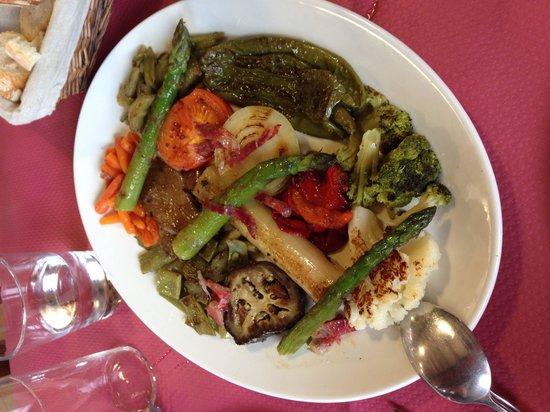 Parrilla La Veguca: Parrilada de verduras con Jamon