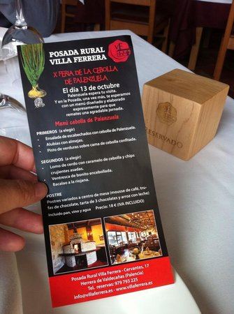 Villa Ferrera Posada Rural: Menu