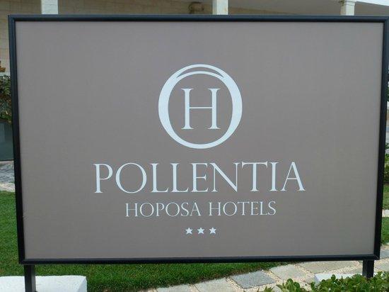 Hoposa Pollentia Hotel: Hotel sign in garden