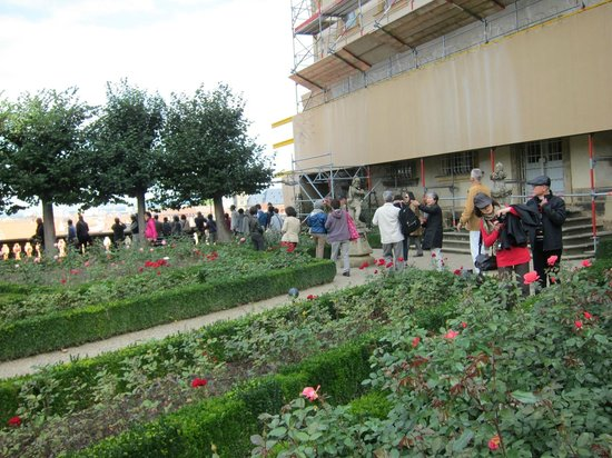 Rosengarten der Neuen Residenz: Rose Garden at the New Residenz・・・左手が旧市街向かいのテラス