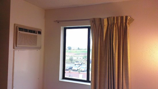 Motel 6 Page: View from the room with dirty cutains