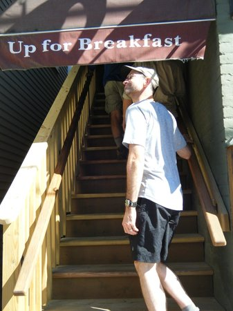 Up For Breakfast: the sign directs you where to go  :-)