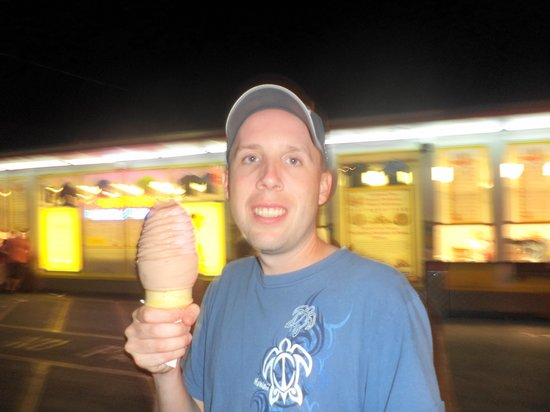 Martha's Dandee Creme: my husband Chris enjoying his ice cream!