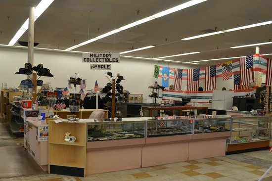 Southwest Florida Military Museum & Library: Military collectibles for sale area.