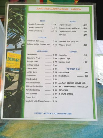 Aggies Restaurant and Bar: Menu at Aggies