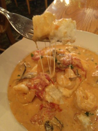 Irregardless Cafe: Shrimp and grits. Look at that cheese!