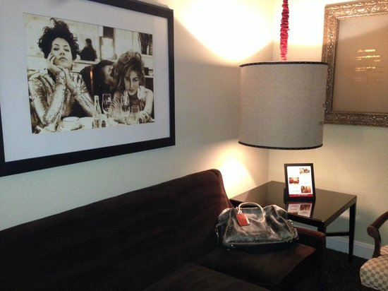Hotel ZaZa Dallas: Sitting area with art (for sale).