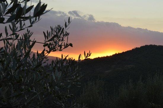 Locanda del Gallo: Sonnenuntergang vom Garten aus