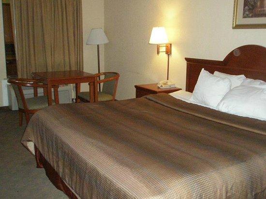 Econo Lodge Hillsboro: Bed and table