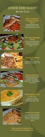 backwoods bistro lunch menu