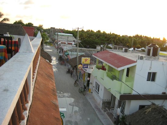 La Parrilla De Juan Holbox: Looking toward the town square off the balcony at La Parrilla Juan