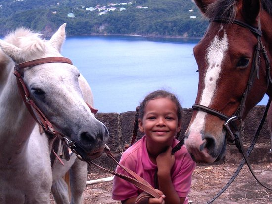 Rainforest Riding : Taz ,Hot and Collata ,Valeries daughter at the eastern battery the Cabits  National Park
