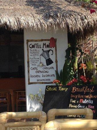 Vista Mare Italian Restaurant: Caffè rigorosamente con la moca