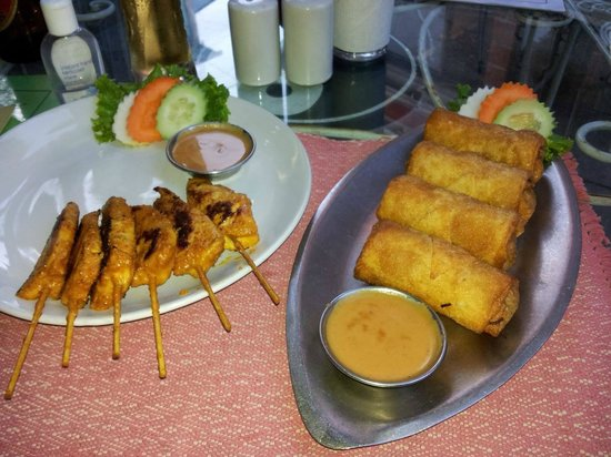 Yin Yang Restaurant: chicken satay and spring rolls