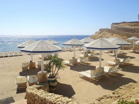 Domina Coral Bay Prestige Hotel : Prestige private beach taken from the beach bar