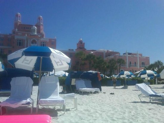 The Don CeSar: lounge chairs on beach