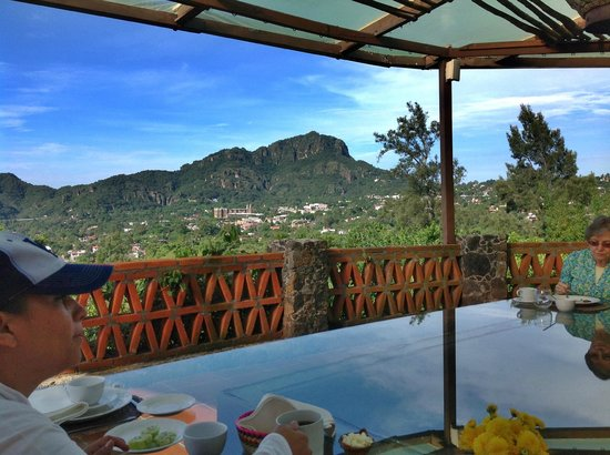 La Villa Bonita Culinary Vacation : This is the view from the elevated terrace above the kitchen where we have lunch of dishes prepa