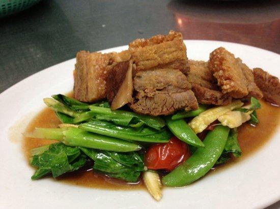 Thai taste: Fried mixed vegetable with crispy pork
