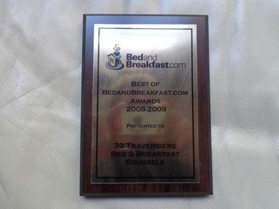 70 Traversiere Bed & Breakfast: Award