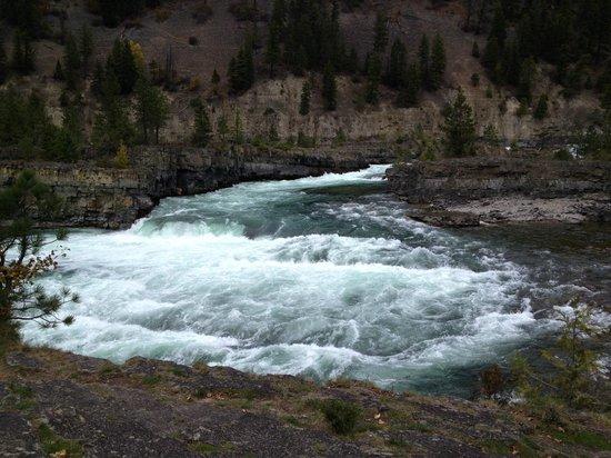 Kootenai Falls Swinging Bridge: Rapids below the falls