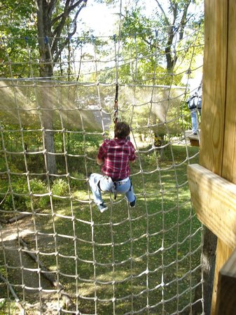 Go Ape Treetop Adventure Course: last tarzan swing/net