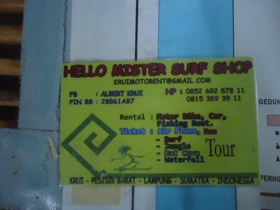 Krui Beach: Hello Mister Surf Shop