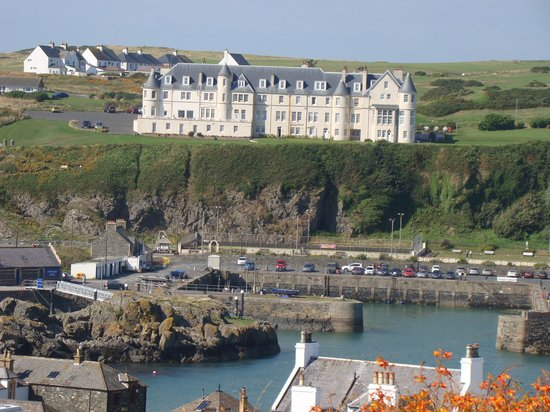 The Portpatrick Hotel: view from the cliffs by old castle