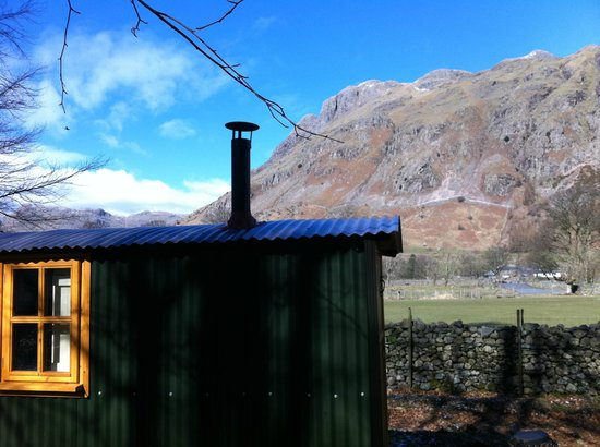 National Trust Campsite - Great Langdale: view of the Langdale Pikes from my herdy hut