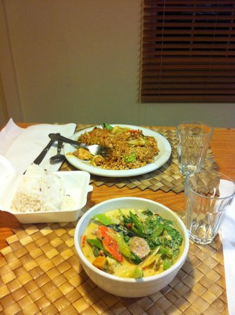 Thai Thai Restaurant : Take out dinner: hot green curry and noodles
