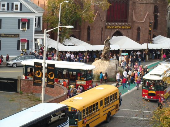 Hawthorne Hotel: View of the Salem Witch Museum from our room