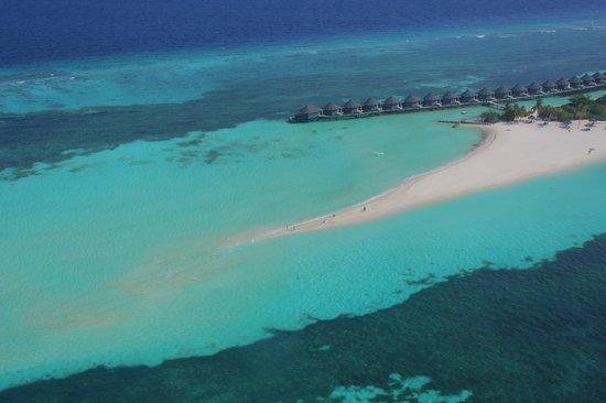 Kuredu Island Resort & Spa: вид с гидросамолёта (коса острова)