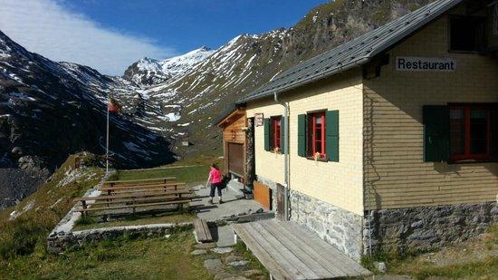 Schilthorn Hut  and view up valley toward Schilthorn summit