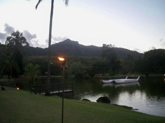 Smith Family Garden Luau: Tiki's are being lit to light the way to the show