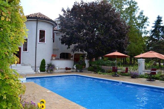 The Villa: pool and back of Villa