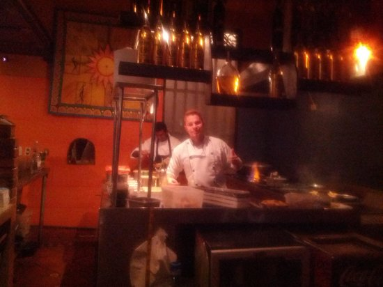 Agave Azul: View from the bar - Chef serves it up