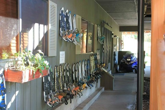 Mountain Home Lodge: Selection of snowshoes/skis