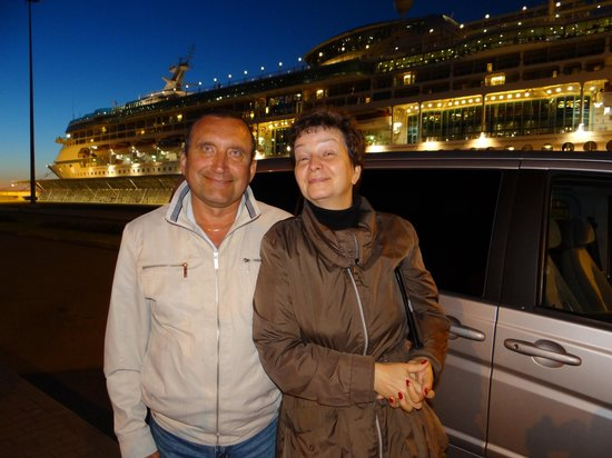 Dancing Bear Tours - Day Tours : Our last goodbye to Julia and Vladimir outside our ship - the beautiful Vision of the Seas.