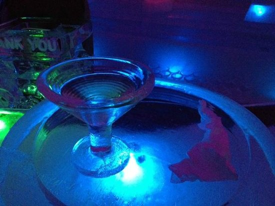 The Aurora Ice Museum: Martini glass made of ice
