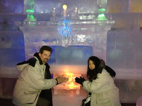 The Aurora Ice Museum: By the ice fireplace