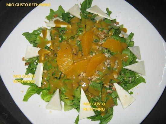Mio Gusto : roka greens salad with mitzithra(cretan cheece) and fresh orange sause
