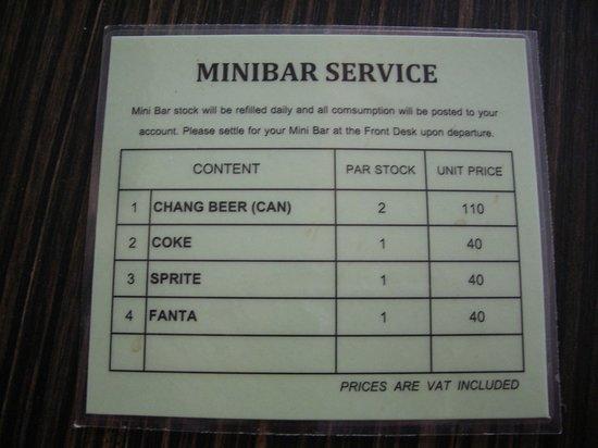 R Mar Resort and Spa : minibar service