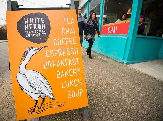 White Heron Tea & Coffee Community: A-Frame on the Sidewalk