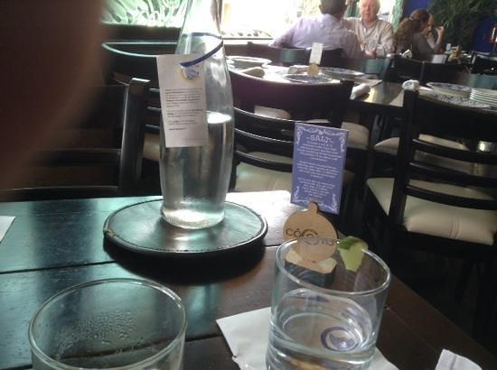 Cocono Queretaro: agua purificada al final de la comida