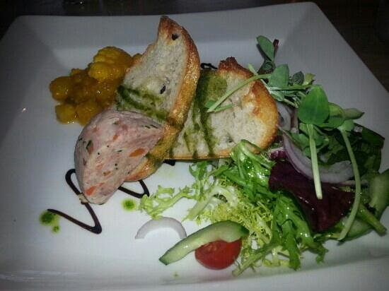 Duke of Wellington Inn: home made piccalilli with ham terrine and toasted ciabata