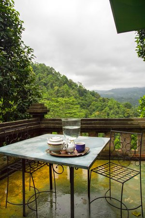 Kandy Samadhi Centre: view to the Knuckles ranges from the balcony