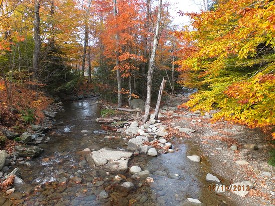 Smugglers' Notch Resort: stream behind our suite